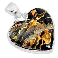 15.08cts natural black australian obsidian heart 925 silver pendant r83235