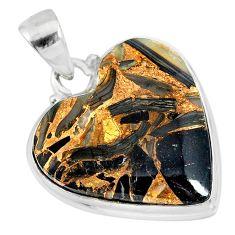 14.72cts natural black australian obsidian heart 925 silver pendant r83236