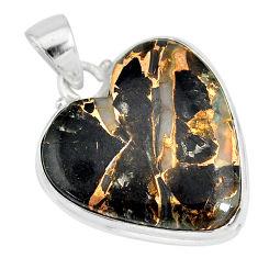 15.65cts natural black australian obsidian heart 925 silver pendant r83239