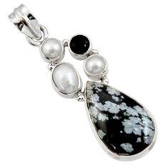 Clearance Sale- 16.06cts natural black australian obsidian onyx 925 silver pendant d45169