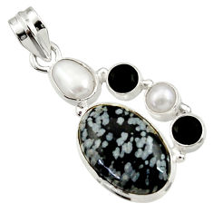 Clearance Sale- 15.02cts natural black australian obsidian onyx pearl 925 silver pendant d45180