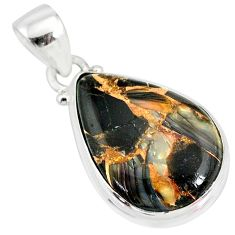 10.65cts natural black australian obsidian pear 925 silver pendant r83412