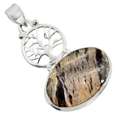 18.68cts natural black banded oil shale 925 silver tree of life pendant d42149