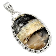 Clearance Sale- 22.59cts natural black banded oil shale 925 sterling silver pendant d42145