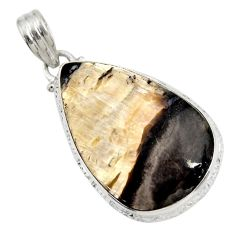 Clearance Sale- 24.00cts natural black banded oil shale 925 sterling silver pendant d42151