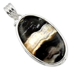 Clearance Sale- 18.15cts natural black banded oil shale 925 sterling silver pendant d45101