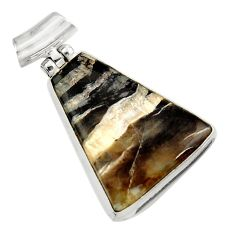 Clearance Sale- 17.22cts natural black banded oil shale 925 sterling silver pendant d45102