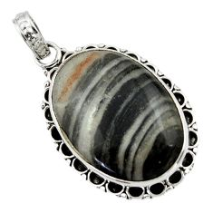 16.95cts natural black banded oil shale 925 sterling silver pendant r44630
