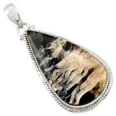 Clearance Sale- 26.16cts natural black banded oil shale pear 925 sterling silver pendant d42147