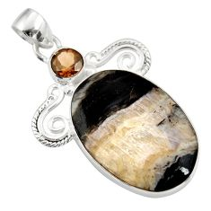 Clearance Sale- 20.65cts natural black banded oil shale smoky topaz 925 silver pendant d42148