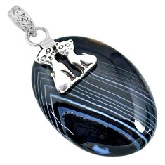 33.71cts natural black botswana agate 925 silver two cats pendant r91296