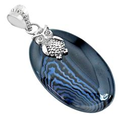 33.54cts natural black botswana agate 925 sterling silver owl pendant r74519