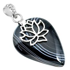 34.34cts natural black botswana agate 925 sterling silver pendant jewelry r91297
