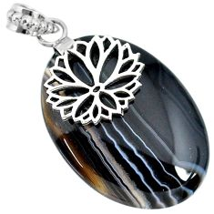 Clearance Sale- 33.69cts natural black botswana agate 925 sterling silver pendant jewelry r91300
