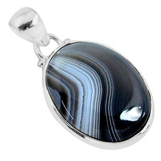 14.68cts natural black botswana agate 925 sterling silver pendant jewelry r94678