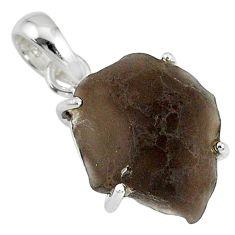 12.66cts natural black cintamani saffordite 925 silver handmade pendant r79489
