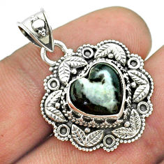 5.15cts natural black chrysanthemum 925 sterling silver heart pendant t56157