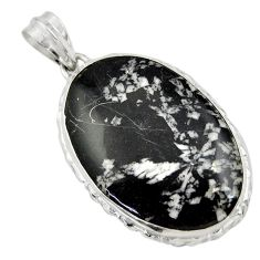 28.08cts natural black chrysanthemum 925 sterling silver pendant jewelry r30574