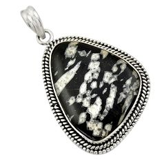 27.77cts natural black chrysanthemum 925 sterling silver pendant jewelry r30580