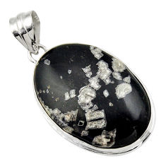 21.48cts natural black chrysanthemum 925 sterling silver pendant jewelry r32097