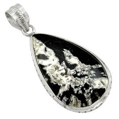 18.15cts natural black chrysanthemum 925 sterling silver pendant jewelry r41804