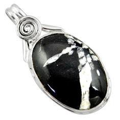 18.70cts natural black chrysanthemum 925 sterling silver pendant jewelry r41805