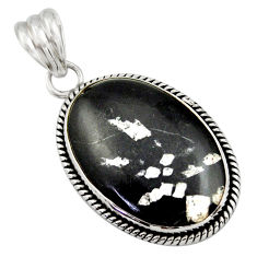 19.07cts natural black chrysanthemum 925 sterling silver pendant jewelry r41806