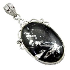 20.88cts natural black chrysanthemum 925 sterling silver pendant jewelry r41808