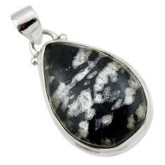 16.48cts natural black chrysanthemum 925 sterling silver pendant jewelry r46181