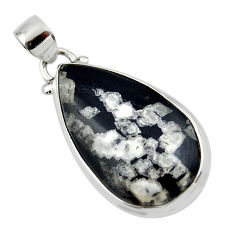 14.42cts natural black chrysanthemum 925 sterling silver pendant jewelry r46185