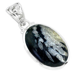 12.58cts natural black chrysanthemum 925 sterling silver pendant jewelry r94639