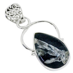 13.70cts natural black chrysanthemum 925 sterling silver pendant jewelry r94640