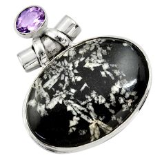 33.68cts natural black chrysanthemum amethyst 925 sterling silver pendant r30577