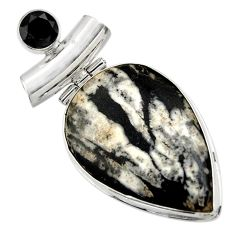 22.59cts natural black chrysanthemum onyx 925 sterling silver pendant r32100