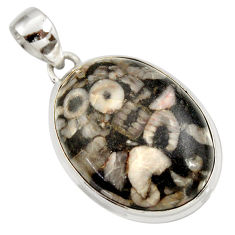 Clearance Sale- 24.00cts natural black crinoid fossil 925 sterling silver pendant jewelry d42000
