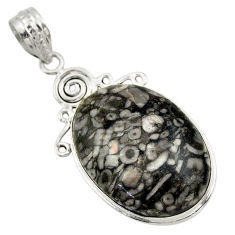 24.00cts natural black crinoid fossil 925 sterling silver pendant jewelry r32041