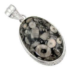 24.38cts natural black crinoid fossil 925 sterling silver pendant jewelry r32043