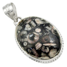 20.85cts natural black crinoid fossil 925 sterling silver pendant jewelry r32045