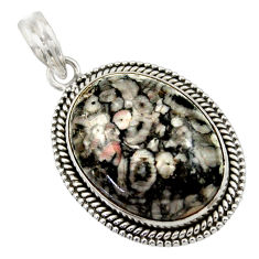 29.78cts natural black crinoid fossil 925 sterling silver pendant jewelry r41642