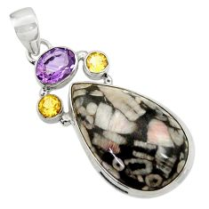 24.00cts natural black crinoid fossil amethyst citrine 925 silver pendant d45125