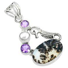 8.80cts natural black dendritic quartz 925 silver seahorse pendant t10592