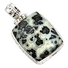 27.08cts natural black feather medicine bow agate 925 silver pendant d42372
