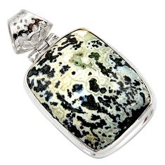 22.02cts natural black feather medicine bow agate 925 silver pendant d42373