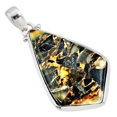19.42cts natural black golden obsidian 925 sterling silver pendant r81105