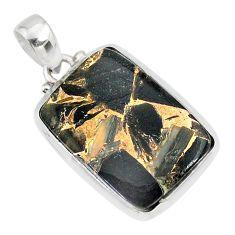 16.28cts natural black golden obsidian 925 sterling silver pendant r81109