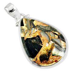 15.26cts natural black golden obsidian 925 sterling silver pendant r81116