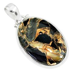 15.68cts natural black golden obsidian oval 925 silver pendant r81112