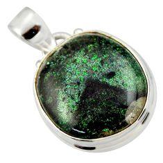 12.22cts natural black honduran matrix opal 925 sterling silver pendant r33842
