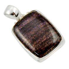 15.65cts natural black honduran matrix opal 925 sterling silver pendant r33847