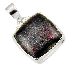 16.18cts natural black honduran matrix opal 925 sterling silver pendant r33848